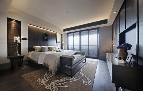 黑色的简约卧室装修