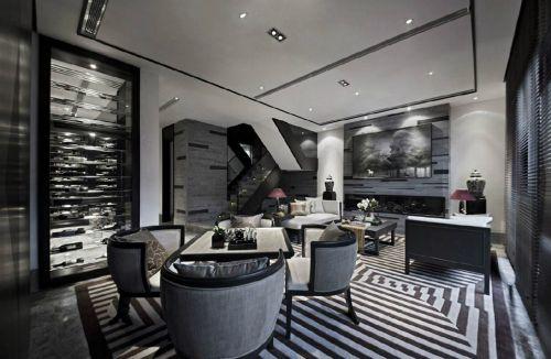 宽敞黑色优雅的餐厅设计