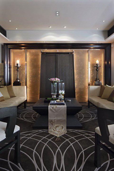 黑色地毯的客厅装潢