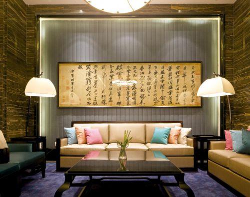 中式简约的客厅效果图