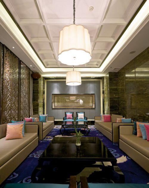 彩色的新中式客厅效果图