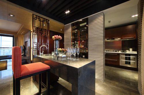 时尚的美式厨房吧台效果图