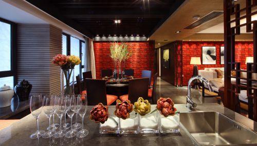 美式有情调的红色厨房吧台设计