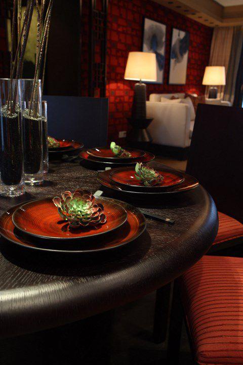 红色有情调的美式餐台效果图
