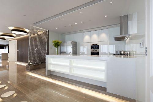 纯白色简欧开放式厨房设计