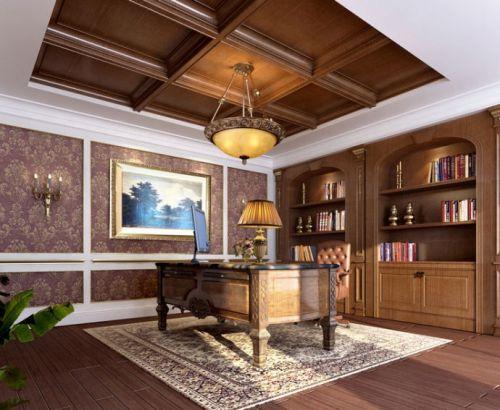 奢华东南亚风格书房吊顶设计