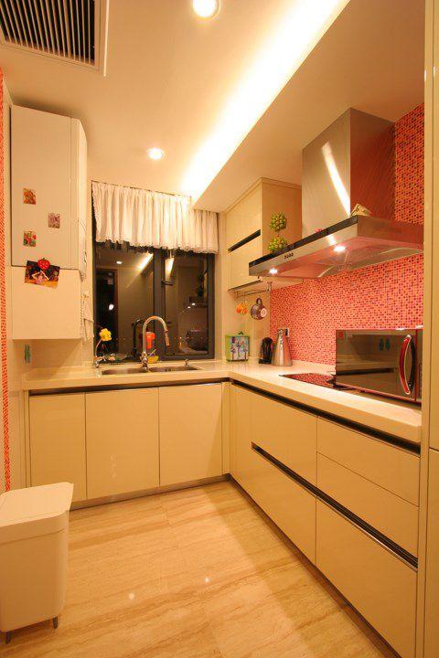 粉色日式风格厨房效果图