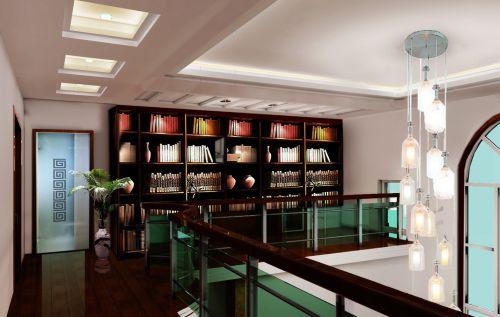新中式别墅走廊书室装.