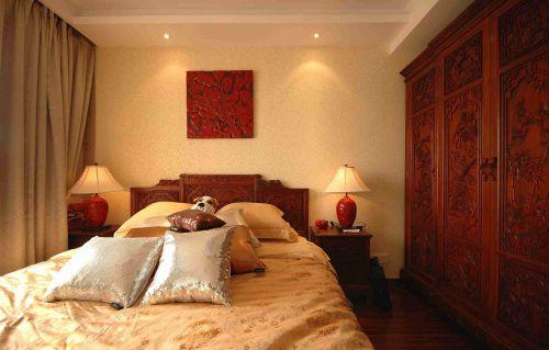 新中式卧室背景墙装修效果图