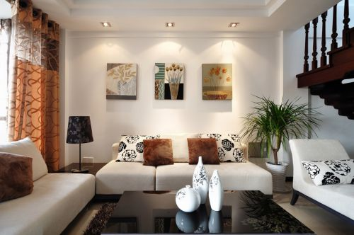 新中式风格客厅背景墙灯光设计