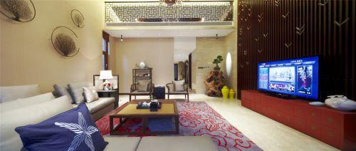 中式风格宽敞的客厅效果图
