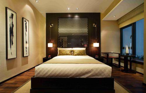 新中式卧室床头背景墙效果图