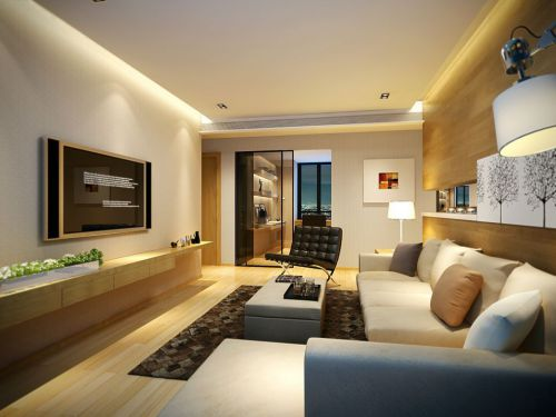 木质风格客厅背景墙储物设计