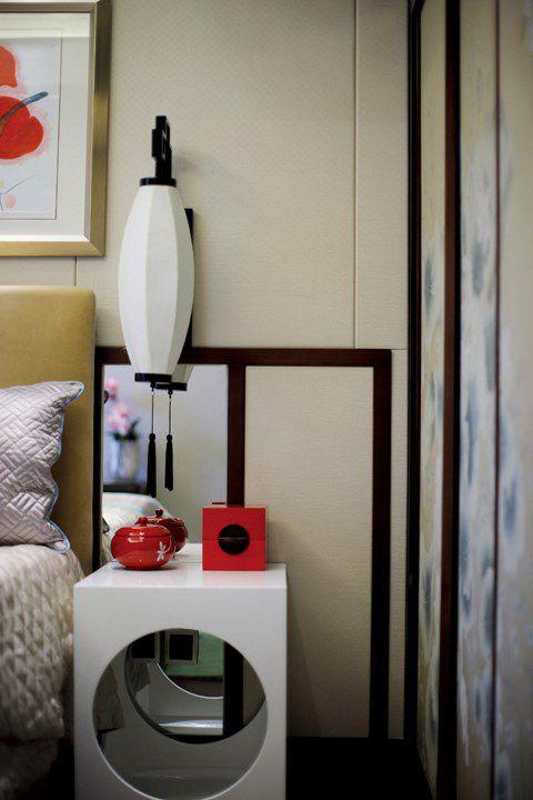 中式风格白色的床头柜效果图