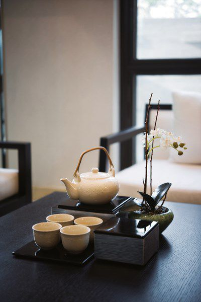 中式风格茶几茶具效果图