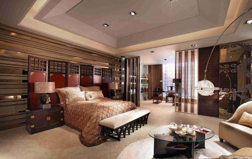 新中式豪华卧室背景墙效果图
