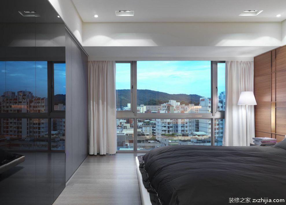 极简主义卧室落地窗装潢效果图