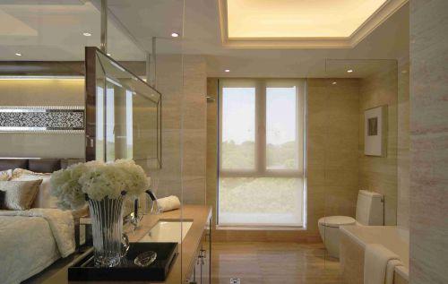 简欧卫生间玻璃隔断墙效果图