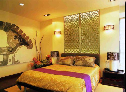 东南亚卧室背景墙装修效果图