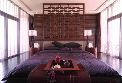新中式别墅卧室背景墙装饰设计