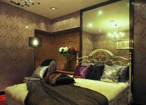 时尚混搭风格卧室壁纸墙效果图