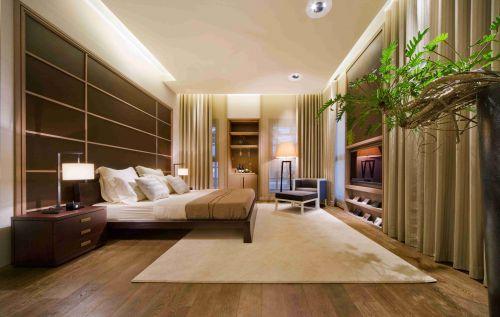 原木风格卧室床头背景墙设计