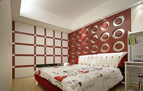 现代简约卧室3D背景墙效果图