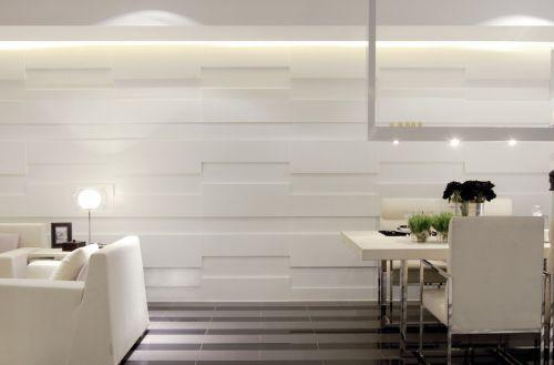 白色简约客厅背景墙