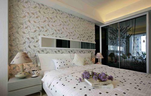简约风格卧室壁纸背景墙效果图