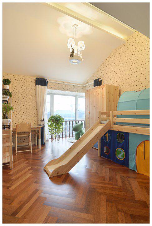 田园风格儿童床滑梯设计