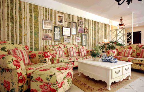 田园风格客厅沙发背景墙装饰效果图