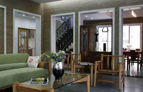 新中式别墅客厅酒柜隔断设计