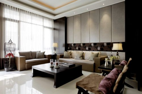简约的咖啡色中式客厅装修案例