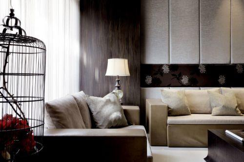 中式风格咖啡色装修客厅落地灯设计