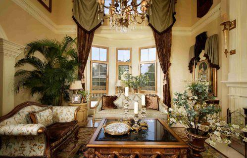 欧式古典风格别墅客厅装饰效果图