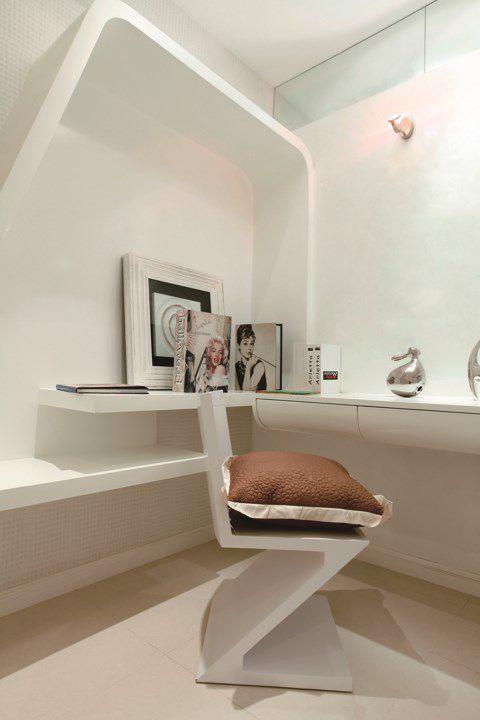 白色简约书房效果图墙面设计