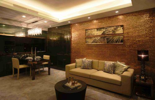 新古典客厅沙发背景墙装潢效果图