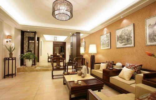 新中式风格客厅沙发背景墙装修图片