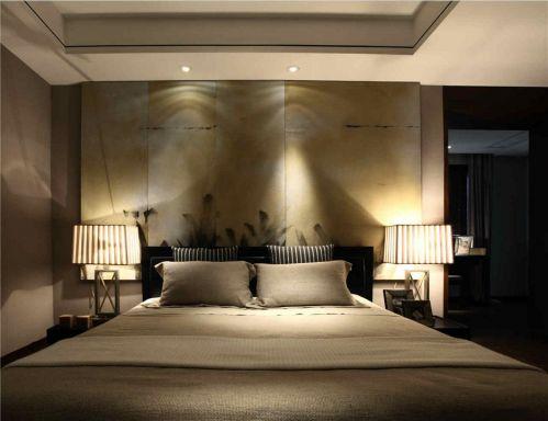 暗色调的简约中式风格卧室设计