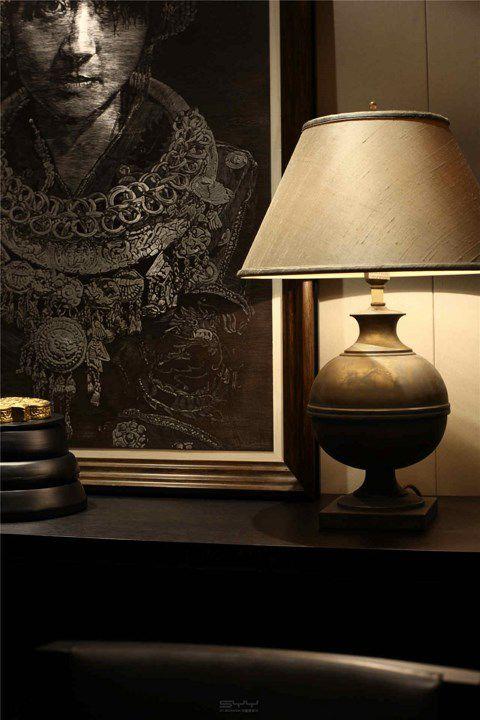 中式风格餐厅储物柜灯具装潢