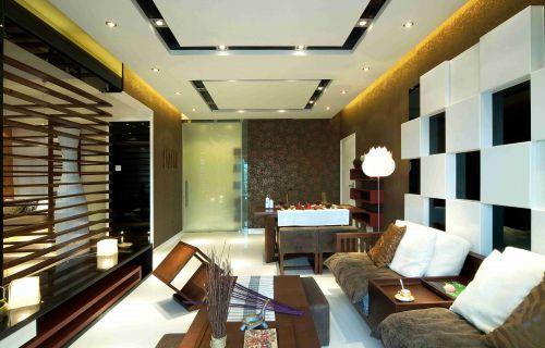 混搭风格客厅吊顶装饰设计效果图