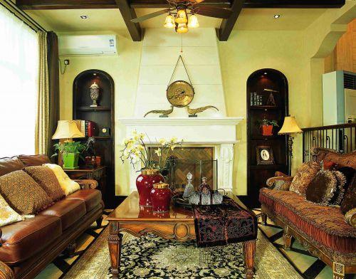 东南亚风格别墅客厅壁炉效果图