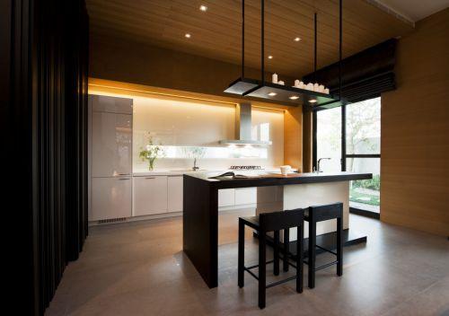 新中式风格开放式厨房效果图