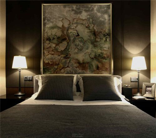 中式风格床头壁画效果图