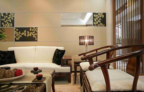 新中式风格客厅集成墙面效果图