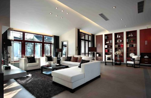 新中式风格开放式书房装饰设计