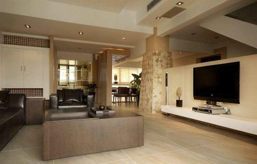 日式风格别墅客厅电视背景墙设计