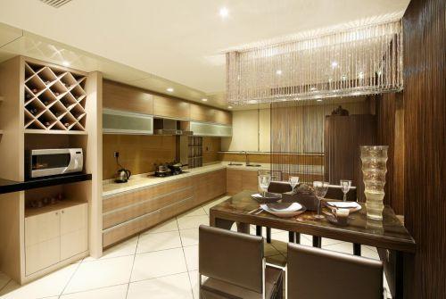 浅咖啡色开放式厨房灯具设计