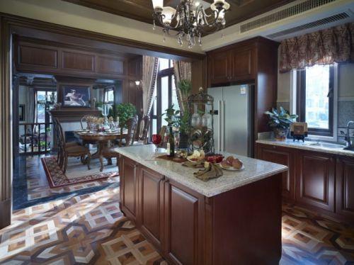 美式古典厨房吧台装修效果图