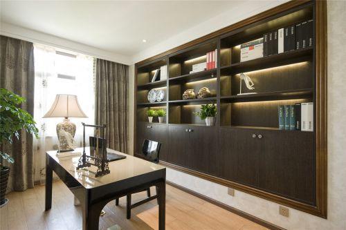 咖啡色书房书柜装修案例